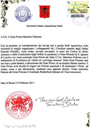 Registrazione presso la Segreteria dello Stato Vaticano a firma di Sua Eminenza Reverendissima Card. Tarcisio Bertone
